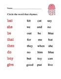 Kindergarten rhyming with sight words common core literacy center quiz test