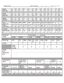 Kindergarten screener progress document