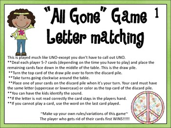 "Kindergarten set of ""All Gone"" Games"
