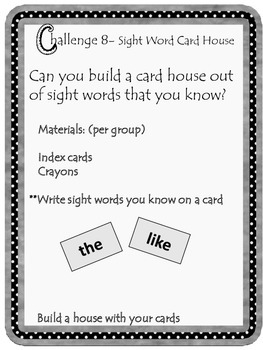 Kindergarten sight word card House