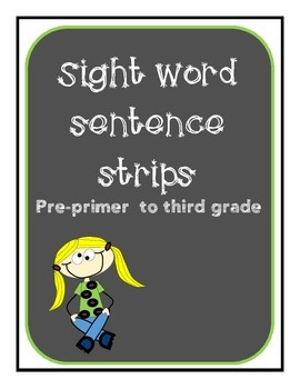 Sight word phrases/fluency strips pre primer to third grade