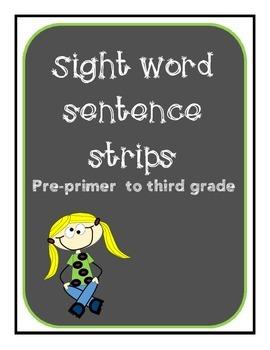 Sight word phrases/fluency strips pre primer to third grade