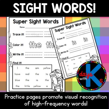 Benchmark Literacy & Advance Kindergarten sight word practice sheets