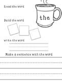 Kindergarten sight word work pt. 1
