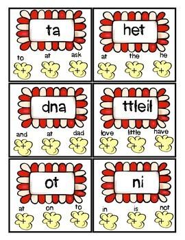 Kindergarten Sight Word Practice Poke Cards (popcorn theme)
