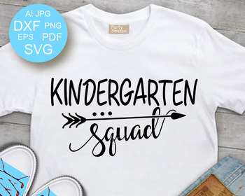 kindergarten shirt svg School svg Cut file School shirt svg Back to school Distressed Kindergarten squad SVG Arrow DXF file