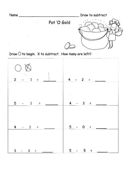 Kindergarten Subtraction from 5 or less using pictures St. Patrick's Day
