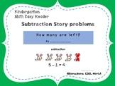 Kindergarten subtraction word problems-  Math Easy Reader