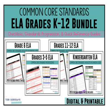 Kindergarten through Grade 12 ELA Common Core Checklist Bundle - Basic Theme