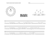 Kindergarten traceable weather sentences worksheets HFW color words AVID WICOR