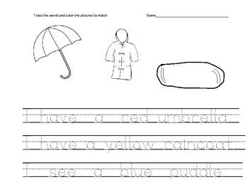 Kindergarten traceable weather sentences worksheets HFW color words AVID WICOR