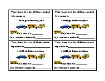 Kindergarten transportation sign