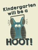 Kindergarten will be a hoot! - Owl Theme Treat Bag Labels