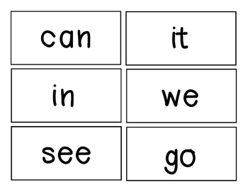 Kindergarten words for word wall