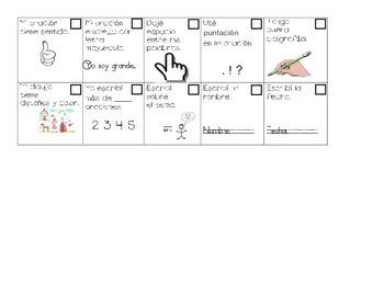 Kindergarten writing check list