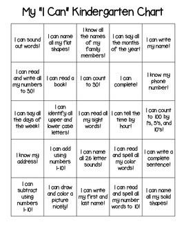 Kindergarten 'I Can' Chart