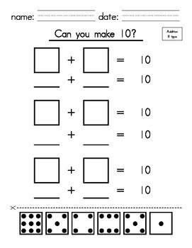 Kindergarten_1st Grade - Make 10 with Addition (cut and paste)
