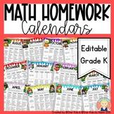 Kindergarten Math Homework Calendars for the Year