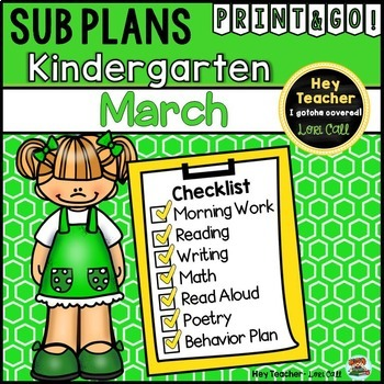 Kindergartren Sub Plans {March}