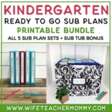 Sub Plans Kindergarten Ready To Go for Substitute. No Prep. TWO full days Bundle