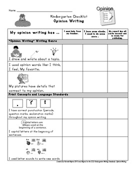 Kindergrten Kid Friendly Opinion Writing Rubric and Checklist