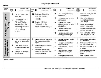 Kindergrten Kid Friendly Opinion Writing Rubric and Checklist