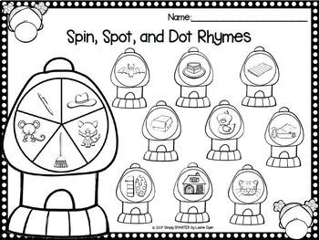 Kinders Spin, Spot, and Dot:  NO PREP Bingo Dauber Literacy Activities