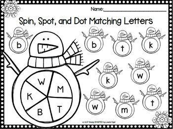 Kinders Spin, Spot, and Dot:  NO PREP Bingo Dauber Literacy Activities