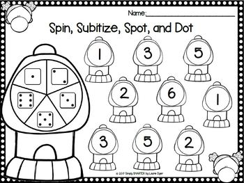Kinders Spin, Spot, and Dot:  NO PREP Bingo Dauber Math Activities
