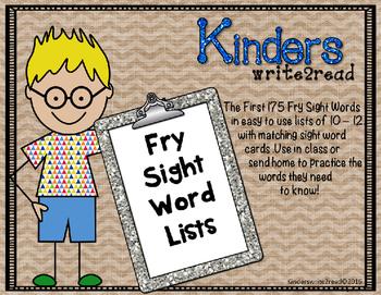 Kinderswrite2read Fry Sight Word Lists