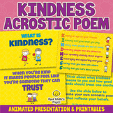 ACROSTIC POEM KINDNESS ACTIVITIES Animated Video & Workshe