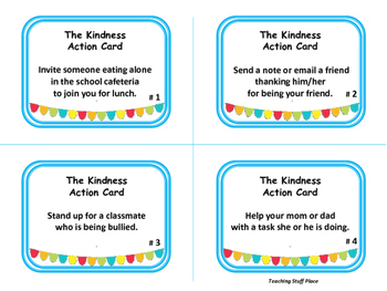 Kindness Action Cards | TASK CARDS |Weekly Character Education Activity Gr 3-4-5