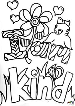 coloring pages acts of kindness - kindness affirmation coloring page by sprout esl tpt