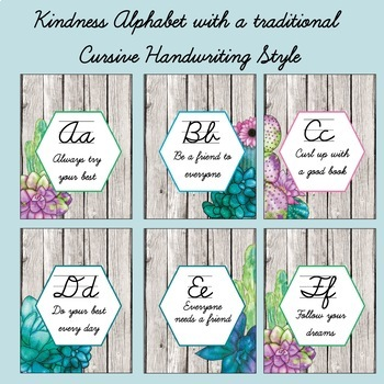Kindness Alphabet with Watercolor Succulents in a Traditional Cursive Style