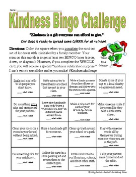 Kindness Bingo Challenge - Month of December *Christmas*
