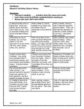 Kindness Bloom's Activity Choice Menu 2nd Grade