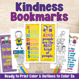 KINDNESS BOOKMARKS Coloring Pages with Kindness Quotes or