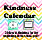 Kindness Calendar - Great for Back To School!