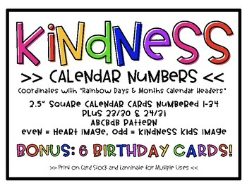 Kindness Calendar Numbers