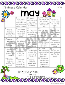 Kindness Calendar- Random Acts of Kindness for the Entire Year