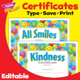 Kindness Certificate and All Smiles Award | Editable Print