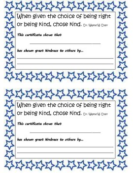 Kindness Certificate-quote from the novel Wonder