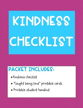 graphic regarding Kindness Cards Printable identified as Kindness Listing (Packet)
