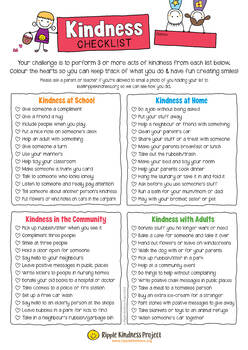 Kindness Checklist - Customize & Color Character Building Activity - A4