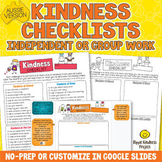 KINDNESS CHECKLISTS Character Building Kindness Activity G