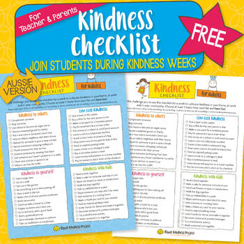 Kindness Checklist for Parents/Teacher - A4