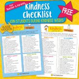 FREE Kindness Checklist - Printable for Older Students, Teachers, Parents - A4