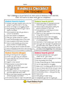 Kindness Checklist for Teachers with Principal Rewards Editable in Google Slides