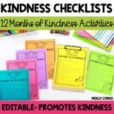 Kindness Checklists - 12 Months of Kindness Activities + E