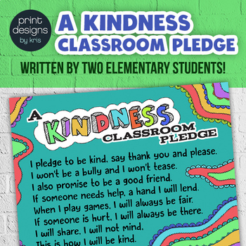 Kindness Classroom PLEDGE Poster - Morning Routine Classroom Pledge